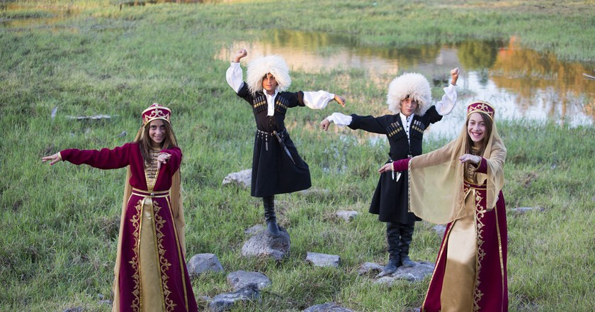 A group of Circassians in traditional garb performing a typical dance, Rehaniya, northern Israel   © israeltourism / Flickr