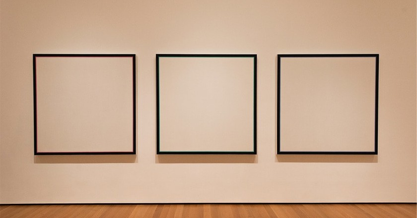 Empty framed canvases