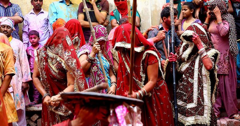Lathmar Holi in action in Barsana town, Uttar Pradesh |