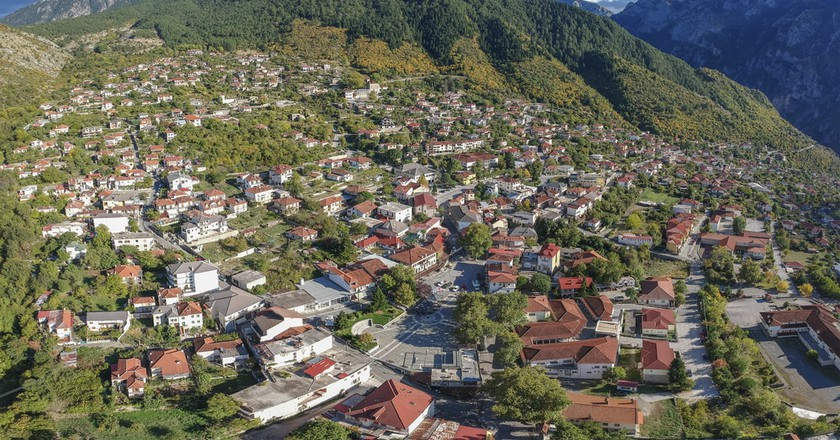 Aerial view of Konitsa town. Tymfi mount, Zagori, Epirus, Greece, Europe  | © PitK / Shutterstock