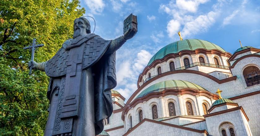 The Church of Saint Sava photobombing the man himself