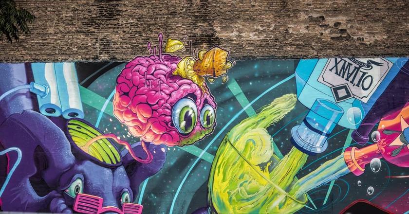 Mural created by Fat Heat, Mr.Zero and ObieOne | Courtesy of Színes Város