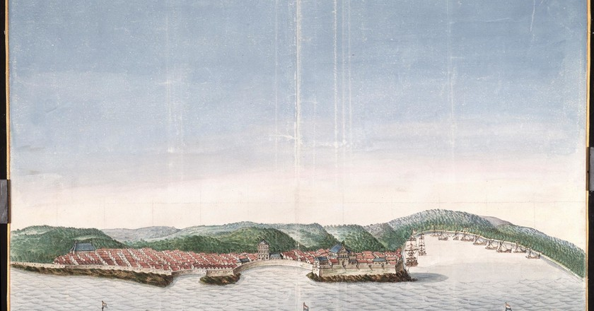 Artist's rendition of the view of the coastal town of Kannur from 1665 | © Atlas of Mutual Heritage/Wikimedia Commons