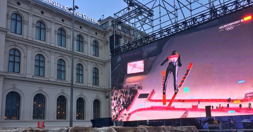 The big screen outside Oslo Sentralstasjon | Didrick Stenersen/Courtesy of Visit Oslo