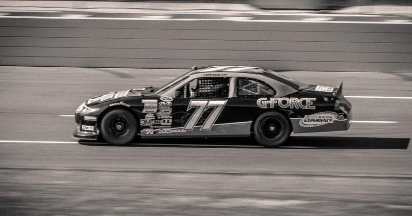 A car racing.