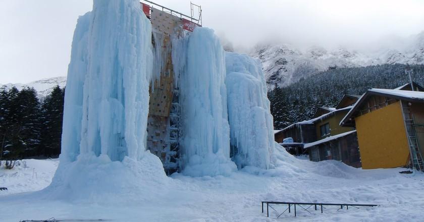 Ice climbing wall 'Ice Candy' at Akadake Kosen in Nagano