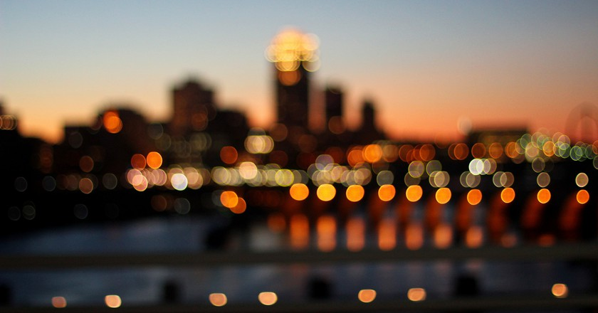 The bright lights of the Minneapolis skyline