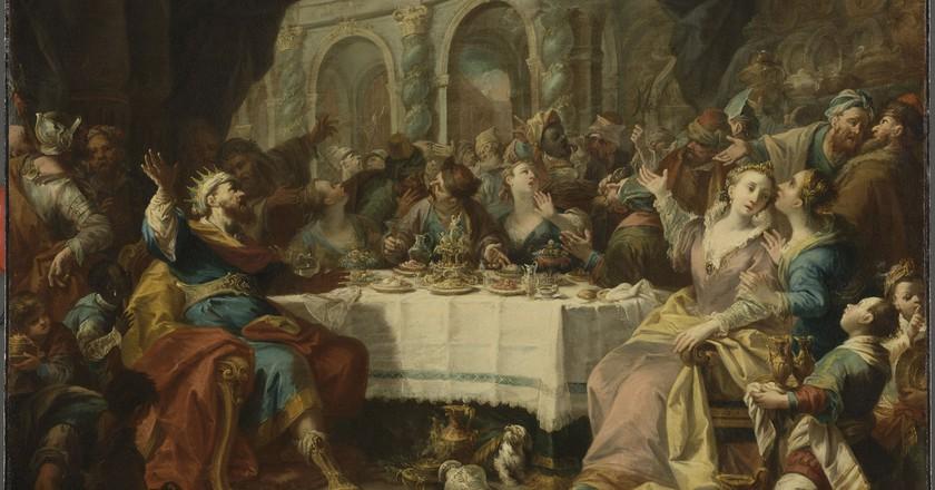 Nicola Bertuzzi Titre; Mane, Thecel, Pharès: le festin de Balthasar | © RMN - Grand Palais (Musee du Louvre) / Stephane Marechalle
