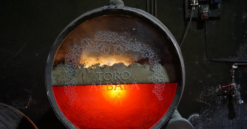 A see-through barrel at the Toro Albalá winery in Córdoba, Andalusia | courtesy Manni Coe