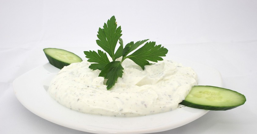 Typical Bulgarian yogurt Snezhanka salad