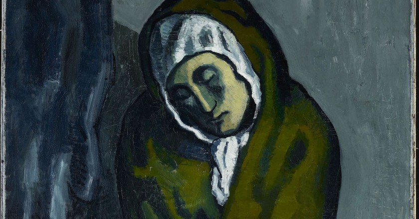Pablo Picasso. La Miséreuse accroupie, 1902. Oil on canvas, 101.3 x 66 cm (39 7/8 x 26 in.). Art Gallery of Ontario. Anonymous gift, 1963. © Picasso Estate.