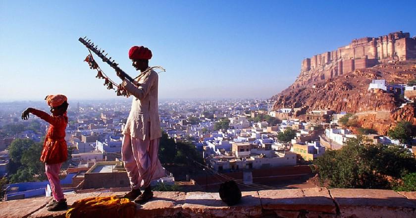 Rajasthani men wearing dhoti, angarkha and pagari