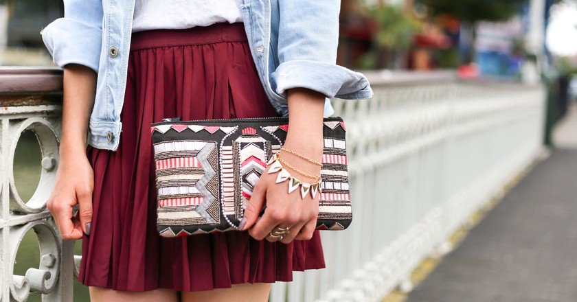 Red skirt and clutch