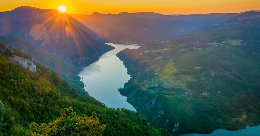 The sun sets over Tara Mountain