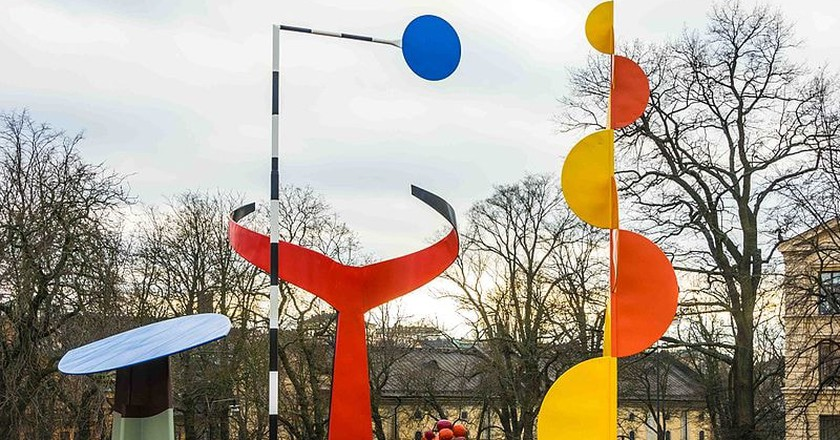 "Alexander Calder's sculpture, ""The Four Elements"", can be seen for free at Moderna 