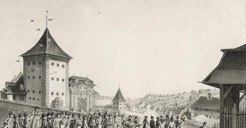 Fancily clad Swiss rebels brandish their sticks | Public Domain/ Wikicommons