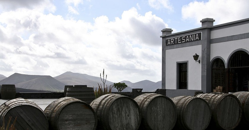 Wine barrels outside Lanzarote vineyard