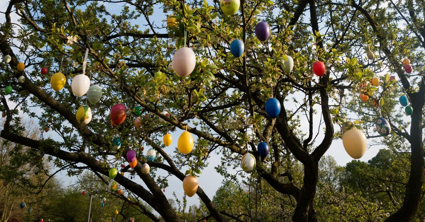 Decorating trees with Easter eggs is a tradition in Germany