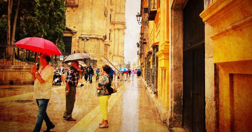 Málaga, Spain, on a rare rainy day