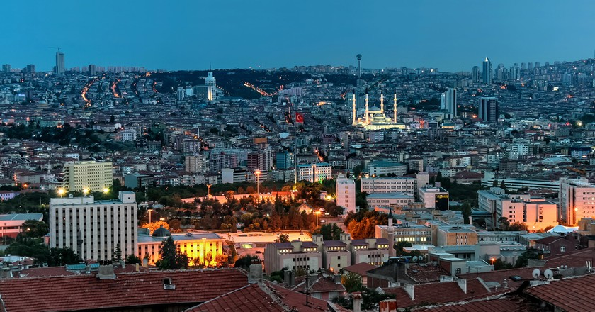 A view of Turkey's capital city at night