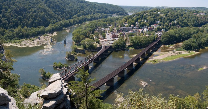 A panoramic view of Harpers Ferry