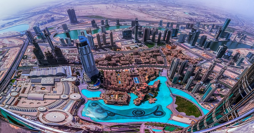 Looking down at downtown Dubai from the Burj Khalifa | © Maher Najm / Flickr