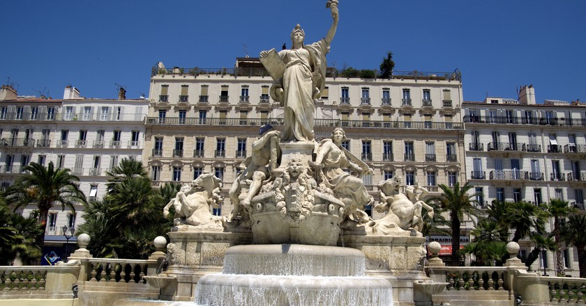 Fountains and blue sky in Toulon, France