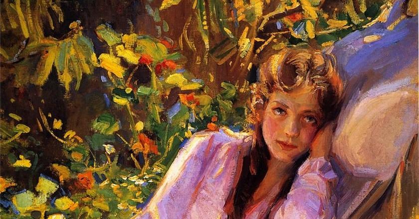 Donna Schuster, Girl in a Hammock, 1917