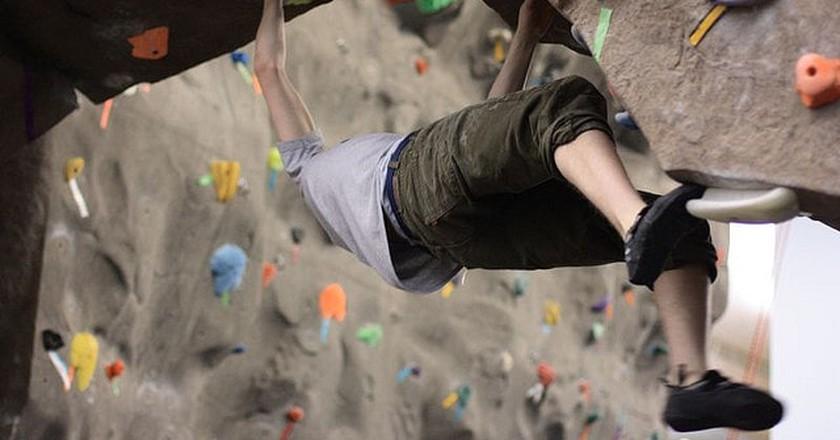 Advanced indoor rock climbing|