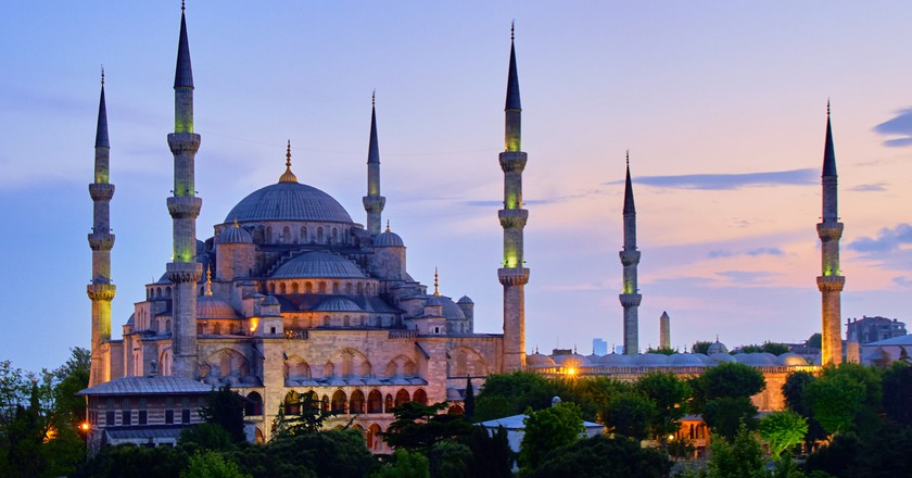 A view of the Blue Mosque in Istanbul at night