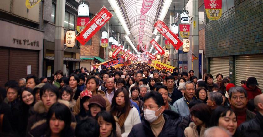 A crowded day in Tenjinbashisuji.