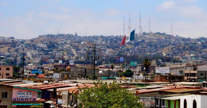 The Mexican flag flutters in the breeze