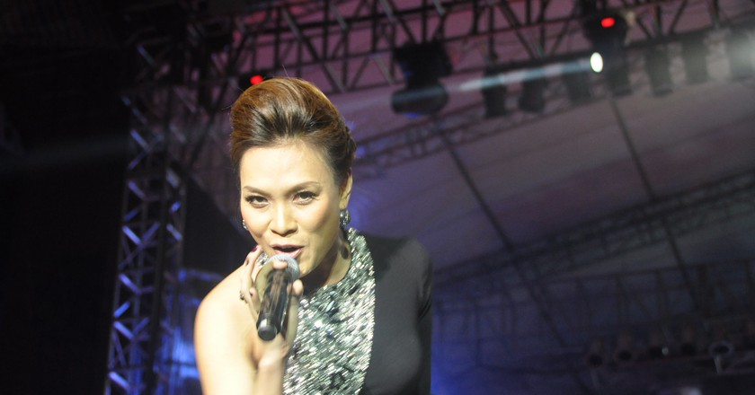 Famous singer My Tam performing in Hanoi