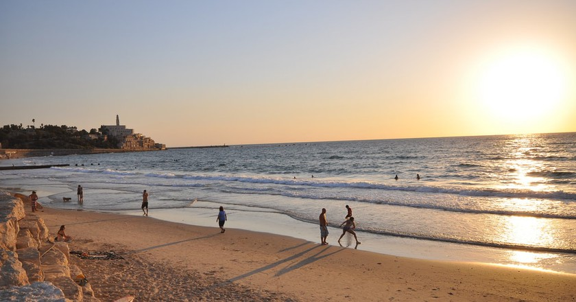 The beach with Jaffa in the background, Tel Aviv