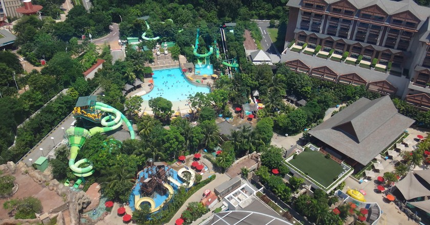 A bird's eye view of a water park