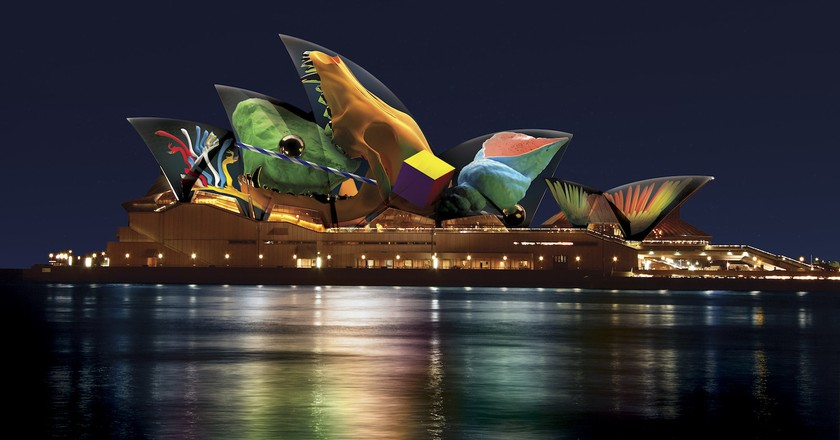 Artist's impression of 'Skull' by Jonathan Zawada at the Sydney Opera House