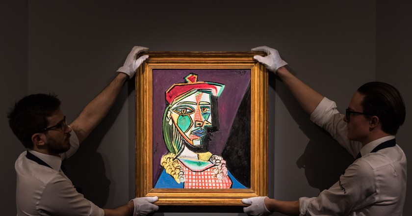 Pablo Picasso's Femme au beret et a la robe quadrillee (1937) goes on view at Sotheby's on February 22, 2018 in London | Photo by Ian Gavan/Getty Images