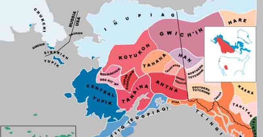 Map showing indigenous languages in Alaska