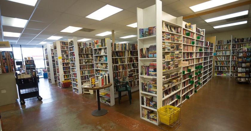 Bookshelves at J. Crawford's Books in Sacramento, CA