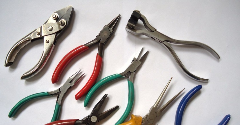 Pliers used in the production of handmade jewelry