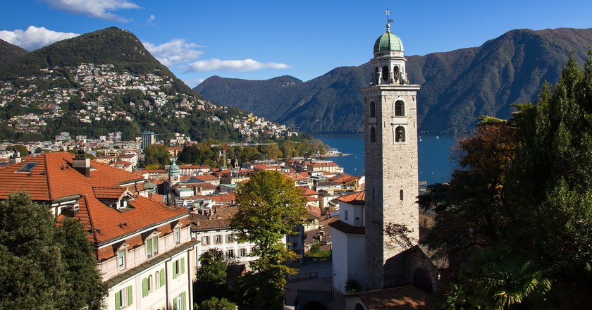 View of Lugano and the San Lorenzo cathedral