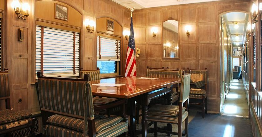 Dining room inside the Ferdinand Magellan railcar