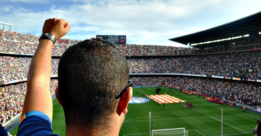 Barcelona's anthem is sung by fans before every match