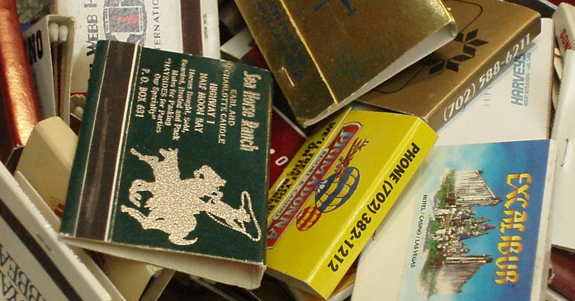 Vintage matchbooks at Main Street Peddlers in Las Vegas