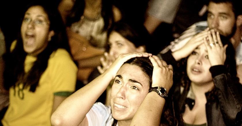 Football fans watch a match in Argentina