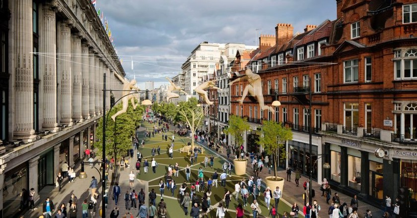 An artist's impression of a pedestrianised Oxford Street