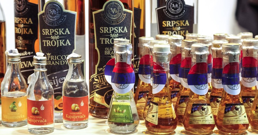 Various bottles of rakija, Serbia