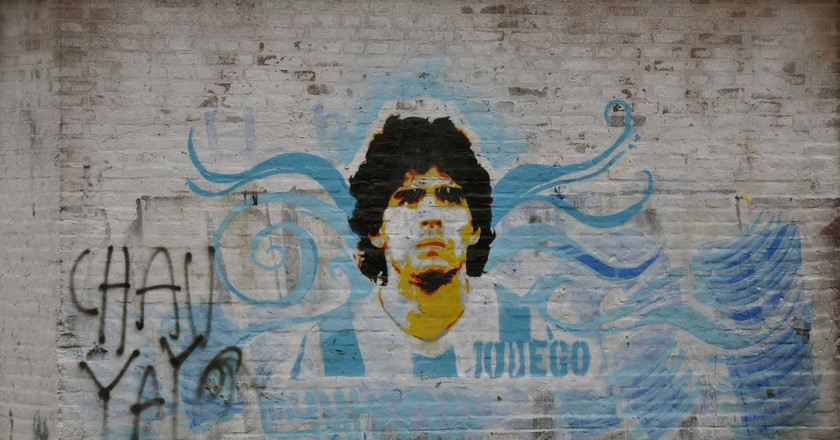 A mural of Diego Maradona, one of Argentina's most famous personalities