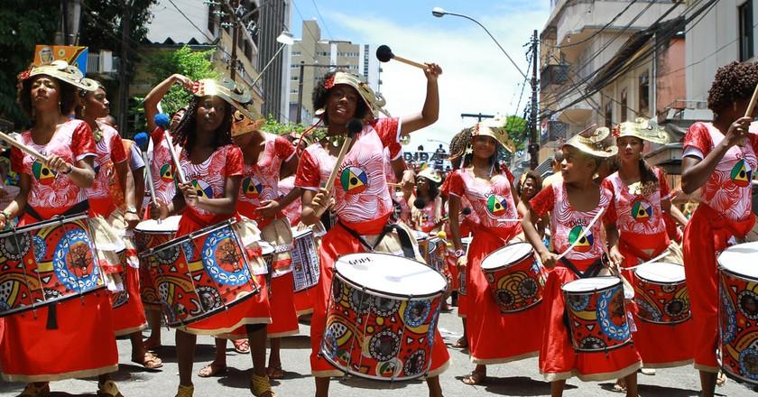 Banda Dida perform live in the streets of Bahia in Brazil