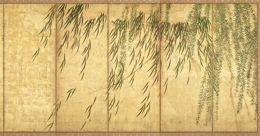 Hasegawa Tōhaku,Willows in Four Seasons (right panel),late 16th century (Momoyama period).London Gallery, Tokyo   Courtesy of the Japan Society.